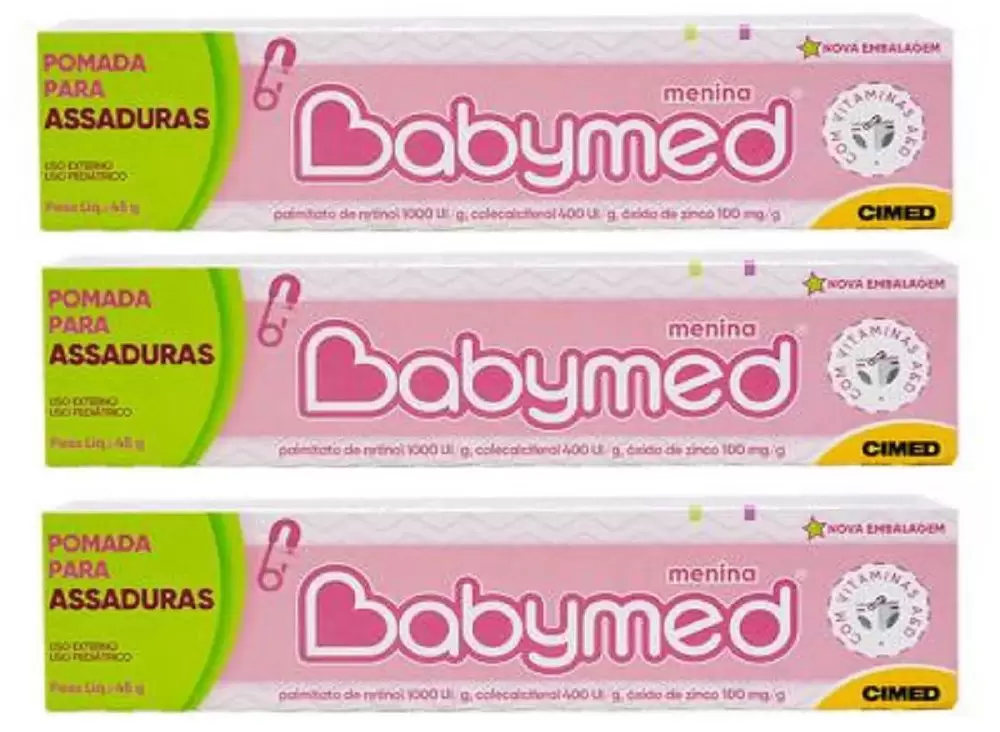POMADA ASSADURA BABYMED KIT C/ 3 UNIDADES